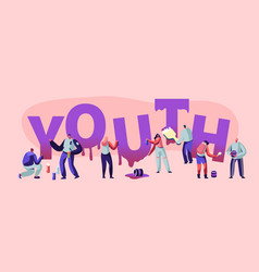 Youth concept with street artist teenagers vector