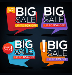 big sale speech bubbles discount banner and label vector image