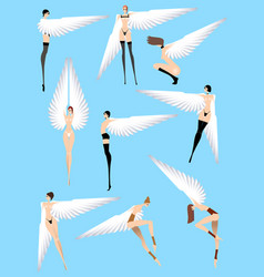 naked sexy angels isolated on a blue background vector image