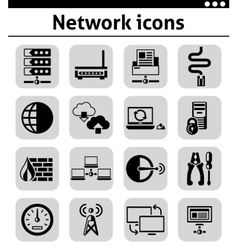 Network icons set black vector image vector image