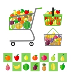 Shopping cart and shopping baskets with fruits vector