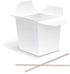 Chinese food opened white take out noodle box vector image vector image