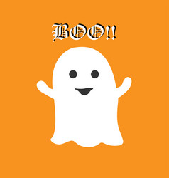 cute halloween ghost saying boo on orange vector image