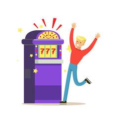 man winning jackpot at slot machine colorful vector image