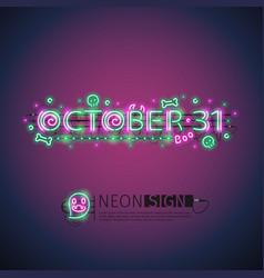 october halloween neon sign vector image