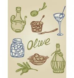 retro olive icons vector image