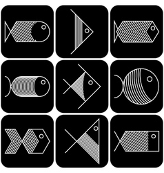 Set of white fish icons on black background vector image vector image