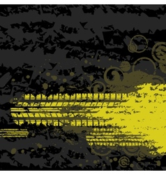 Yellow tire track background vector image vector image