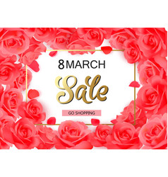 8 march modern background design with red roses vector image