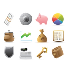 Icons for finance money and security vector image