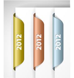 metalic 2012 labels stickers vector image vector image