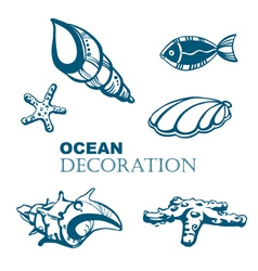 Set of ocean decoration vector image vector image