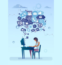woman using computer with chat bubble of social vector image