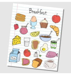 Breakfast doodles lined paper colored vector