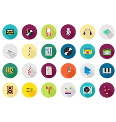 Music round icons set vector image