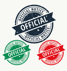 official notice stamp vector image vector image