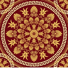 seamless gold Greek ornament and floral pattern vector image vector image