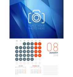 Wall calendar template for august 2018 design vector
