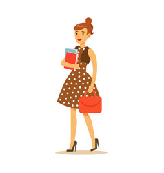 young woman in brown dress standing and holding vector image vector image