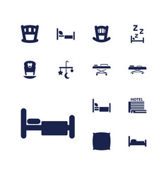 13 bed icons vector