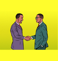 african businessmen men handshake vector image