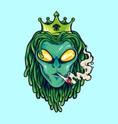 Alien dreadlock king weed smoke vector