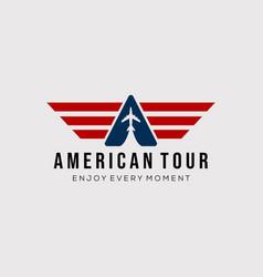 American plane travel logo design vector