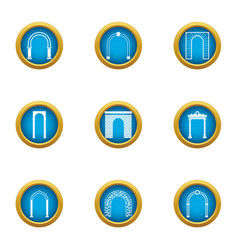 Arch passage icons set flat style vector