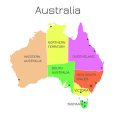 australia map states colorful vector image