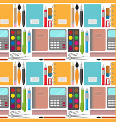 Back to school pattern with notebooks and pens vector