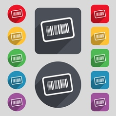 Barcode icon sign A set of 12 colored buttons and vector image