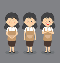 Barista coffee character with various expression vector