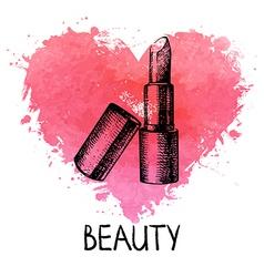 Beauty sketch background with splash watercolor vector