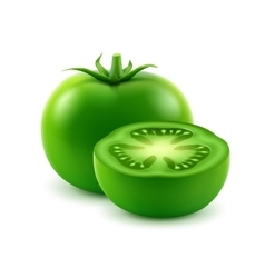 Big Ripe Green Cut Tomato Isolated on Background vector
