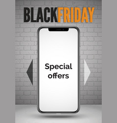 Black friday smartphone special offers realistic vector