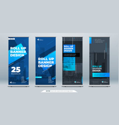 blue business roll up banner abstract roll up vector image