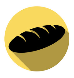 bread sign flat black icon with flat vector image
