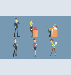business characters working in office set male vector image