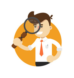 Businessman with magnifier icon vector