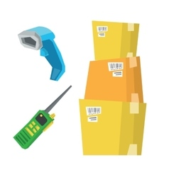Cardboard boxes barcode scanner and radio set vector image