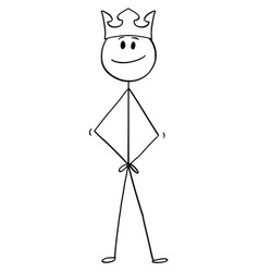 cartoon of man who feels like a king with crown vector image