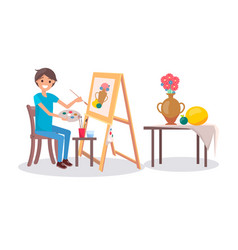 Cheerful painter at work vector