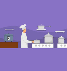 chef at kitchen banner horizontal flat style vector image