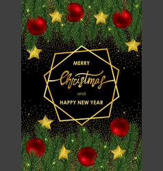 christmas and new year card with gold geometric vector image