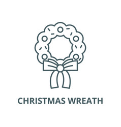 christmas wreath line icon christmas vector image