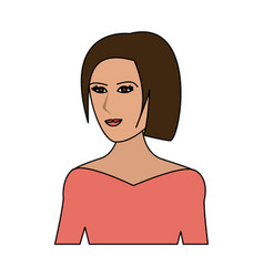 Color image cartoon half body woman with straight vector
