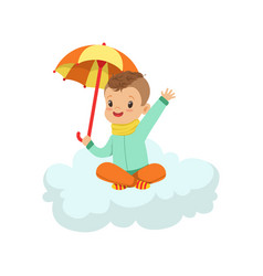 cute little boy sitting on cloud under umbrella vector image
