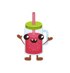 Cute smoothie cartoon character with smiling face vector