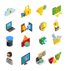 Data Protection Isometric Icons Set vector image
