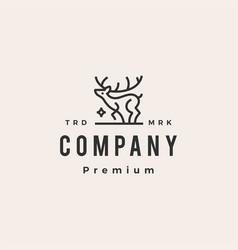 deer star monoline outline hipster vintage logo vector image